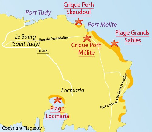 Map of Locmaria Beach in Groix