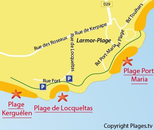 Carte de la plage de Locqueltas à Larmor-Plage