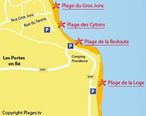 Carte de la plage de la Loge aux Portes en Ré