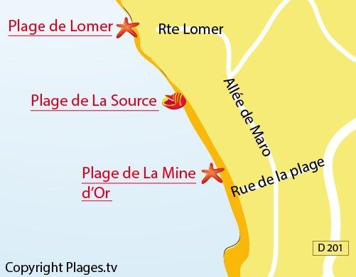 Map of Lomer Beach - Pénestin