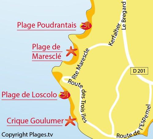 Map of Loscolo Beach in Pénestin
