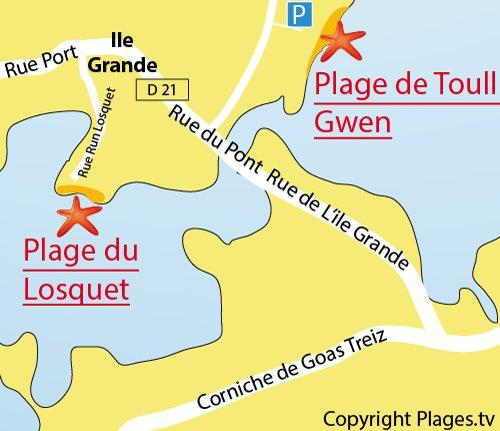 Plan de la plage du Losquet sur l'Ile Grande (Pleumeur Bodou)