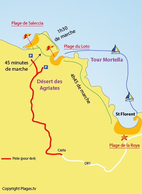 Map of Loto Beach in Saint Florent in Corsica