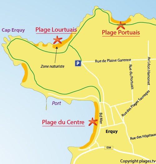 Map of Lourtouais Beach in Erquy
