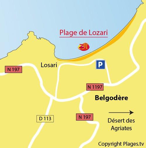 Carte de la plage de Lozari en Corse