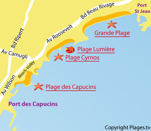 Map of the Lumiere Beach in La Ciotat