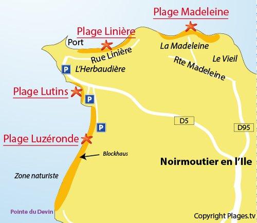 Map of Lutins Beach in Noirmoutier