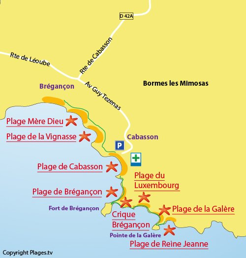 Map of Luxembourg Beach in Bormes les Mimosas