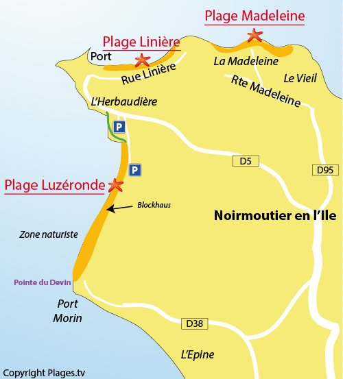 Map of the Luzeronde Beach in Noirmoutier