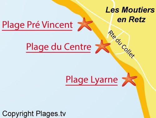 Carte de la plage de Lyarne des Moutiers en Retz