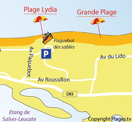 Carte de la plage du Lydia à Port Barcarès (66)
