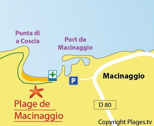 Carte de la plage de Macinaggio dans le Cap Corse
