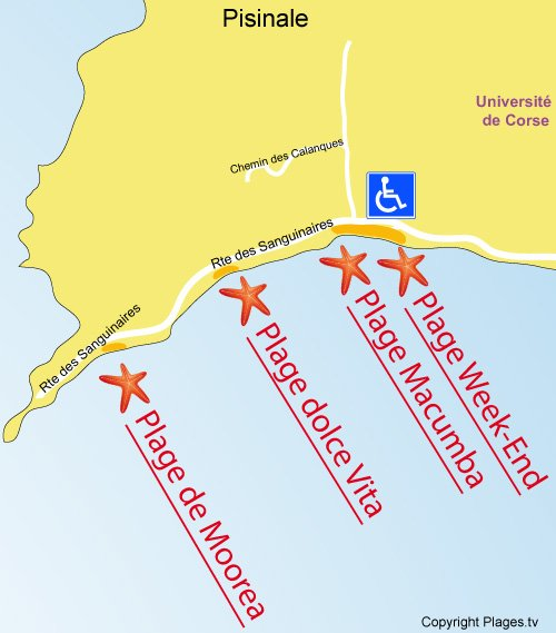 Map of Macumba - Vignola beach in Ajaccio
