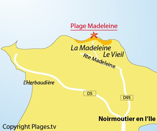 Map of the Madeleine Beach in Noirmoutier