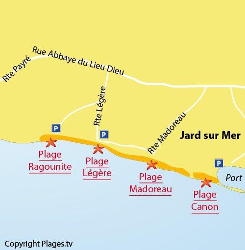Carte de la plage de Madoreau à Jard sur Mer
