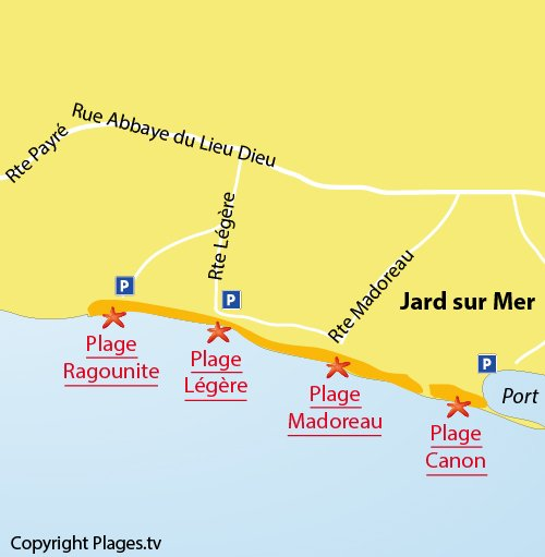 Map of Madoreau beach in Jard sur Mer