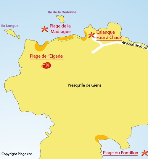 Map of Madrague Beach in Hyères