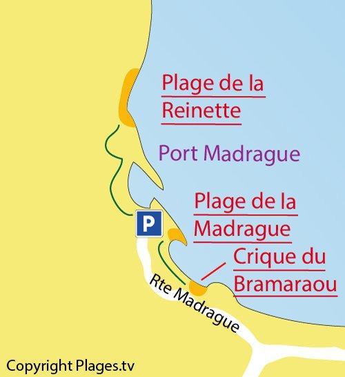 Plan de la plage de la Madrague à St Cyr sur Mer