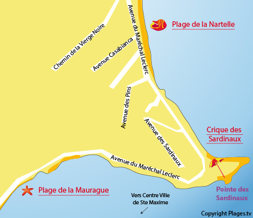 Map of Madrague Cove  in Sainte Maxime