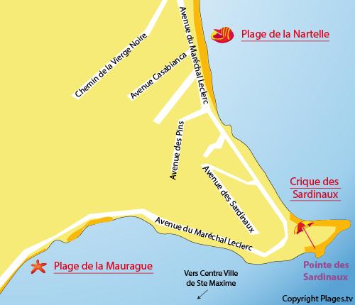 Mappa della Spiaggia della Madrague a Sainte Maxime