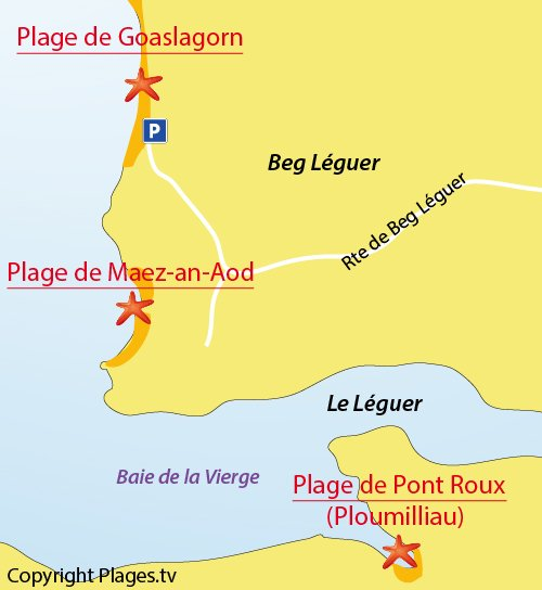 Map of Maez-an-Aod Beach - Beg-Leguer - Lannion