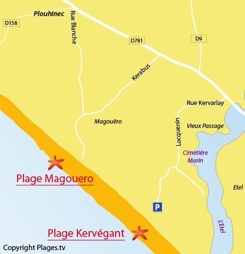 Carte de la plage de Magouero à Plouhinec