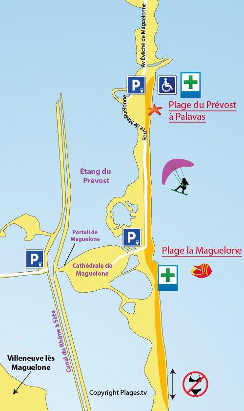 Carte de la plage de Maguelone dans l'Hérault