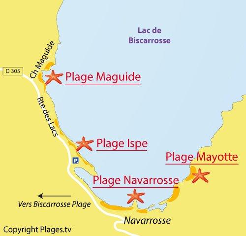 Carte de la plage Maguide à Biscarrosse