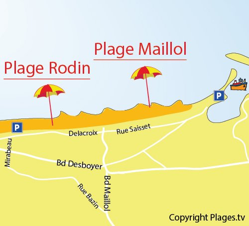 Map of Maillol Beach in Saint Cyprien