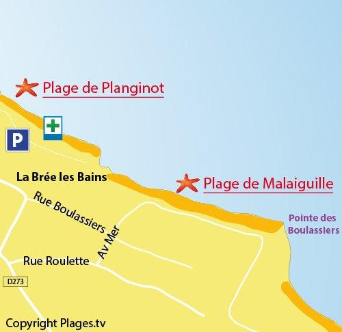Carte de la plage de Malaiguille à Oléron (La Brée les Bains)