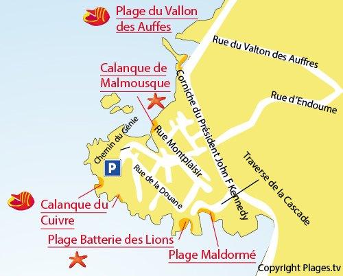 Mappa della Spiaggia di Maldormé a Marsiglia