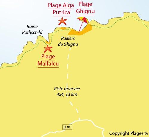 Plan de la plage de Malfalcu dans les Agriates