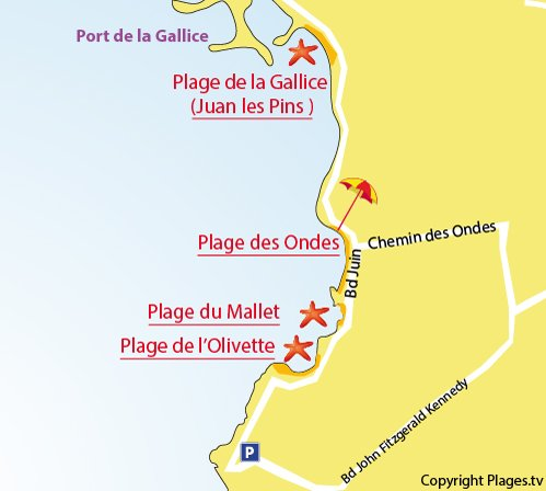 Map of Mallet Beach in Cap d'Antibes