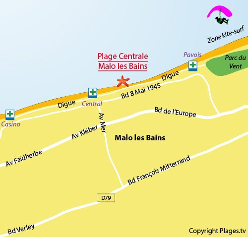 Map of the Malo les Bains Beach in Dunkerque - France