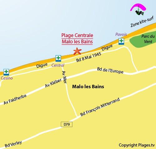Carte de la plage de Malo les Bains