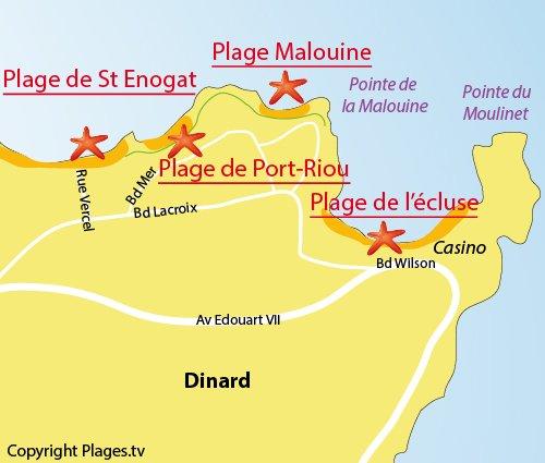 Carte de la plage de la Malouine à Dinard