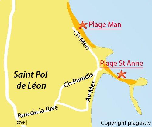 Carte de la plage Man de St Pol de Léon