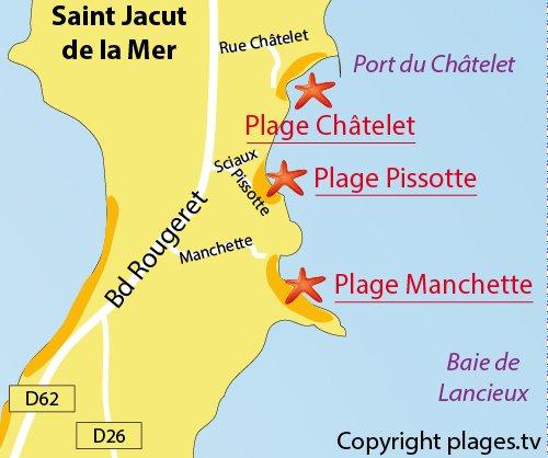 Carte de la plage de la Manchette à St Jacut de la Mer