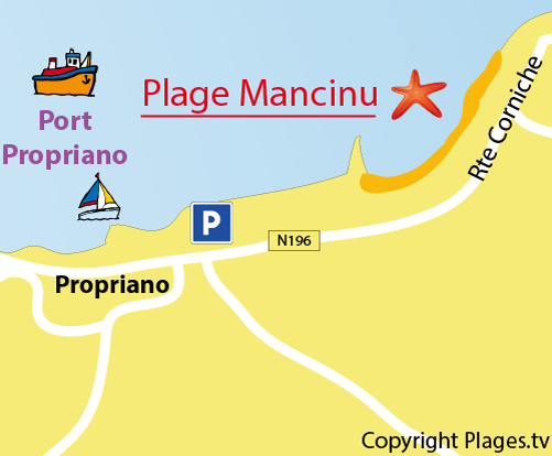 Carte de la plage de Mancinu à Propriano
