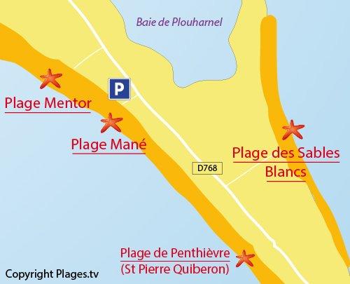 Map of Mane Guen Beach in Plouharnel