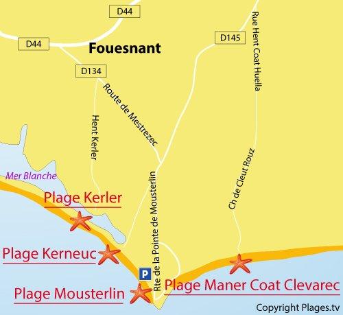 Carte de la plage de Maner Coat Clevarec - Fouesnant