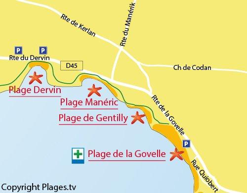 Plan de la plage de Manéric à Batz sur Mer