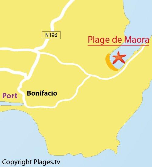 Carte de la plage de Maora à Bonifacio