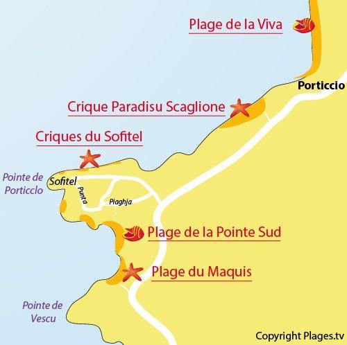 Map of Maquis Beach in Porticcio
