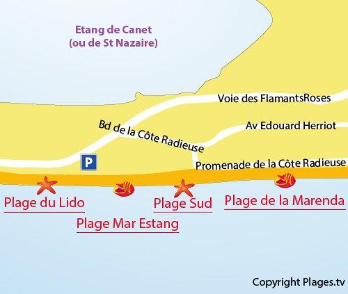 Mappa della Spiaggia di Mar Estang a Canet en Roussillon