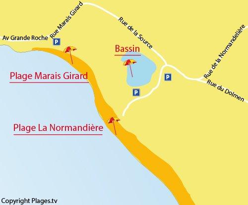 Carte de la plage du Marais Girard de Brétignolles sur Mer