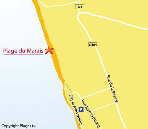 Map of Marais Beach in Le Crotoy