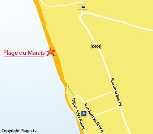 Map of Marais Beach in Le Crotoy