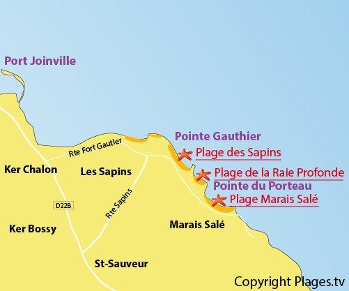 Carte de la plage du Marais Salé sur l'ile d'Yeu
