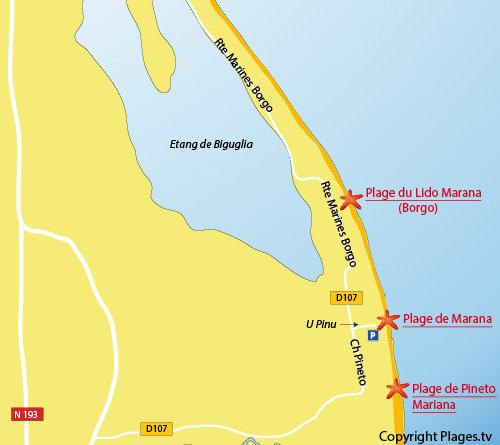 Plan de la plage de Marana à Lucciana (Corse)